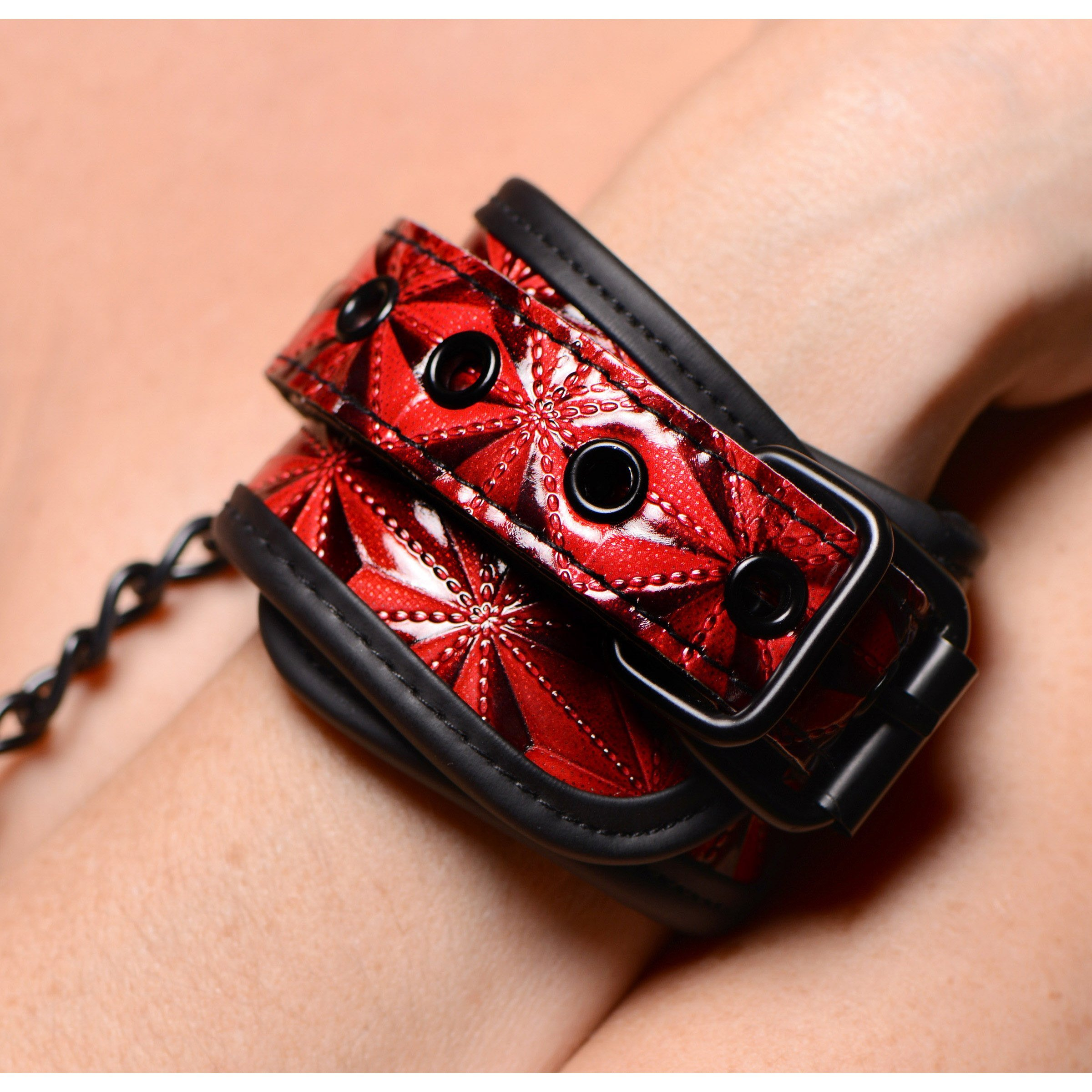 Crimson Tied Embossed Wrist Cuffs